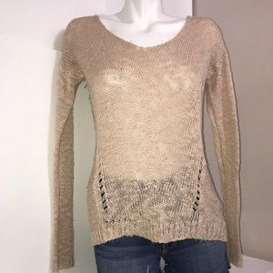 Forever 21 Creamy Tan Cable Knit ScoopNeck Sweater